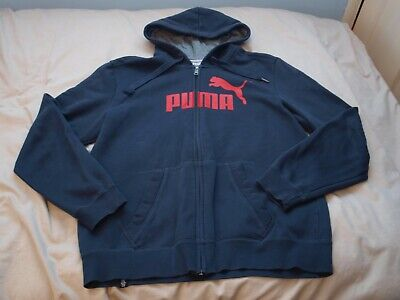 PUMA, MENS, NAVY BLUE, HOODED FULL ZIP SWEATSHIRT TOP, HOODIE, SIZE L