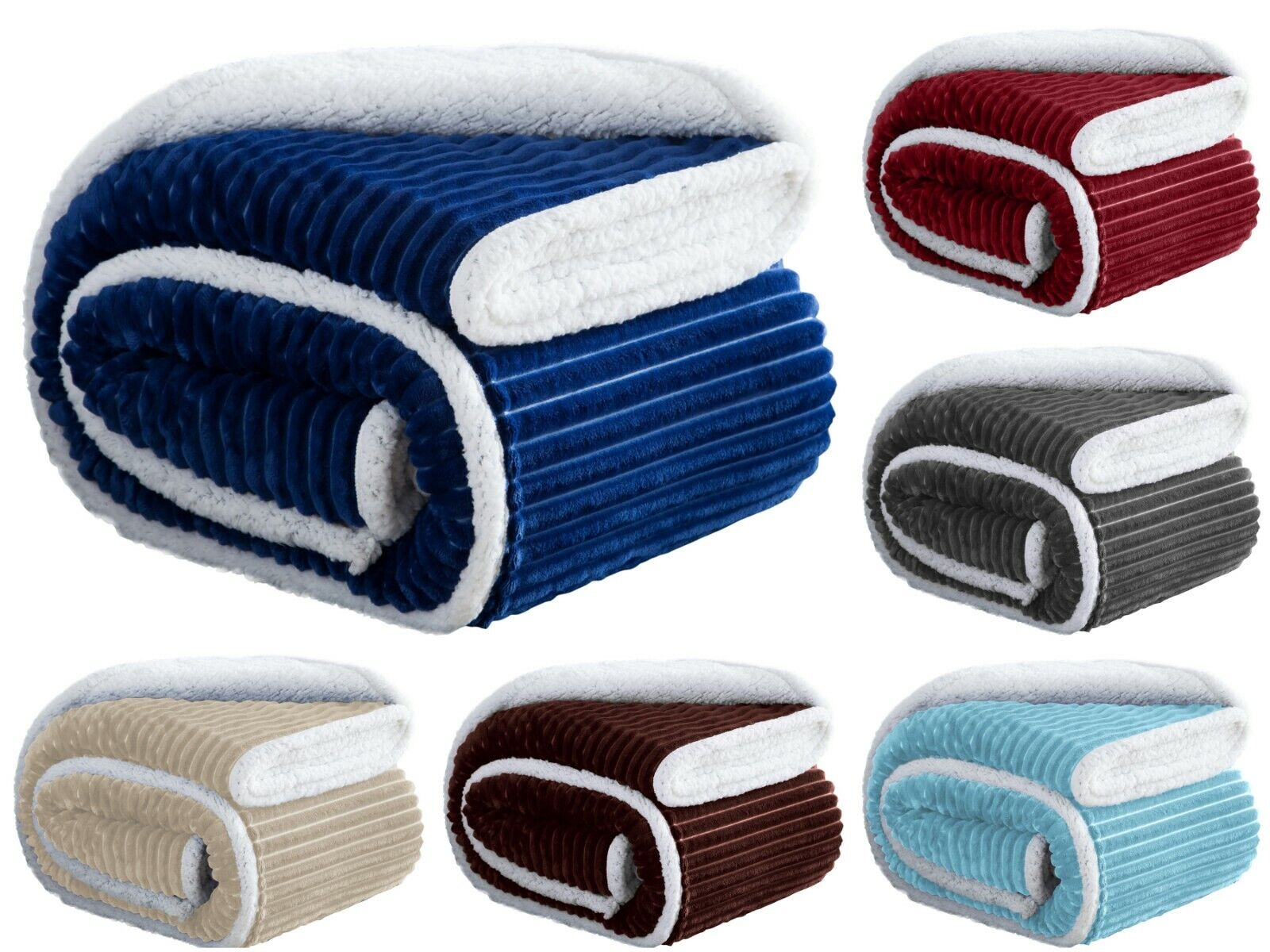 Soft Plush & Fuzzy Throw Sherpa Lined Fleece Bed Blanket & C