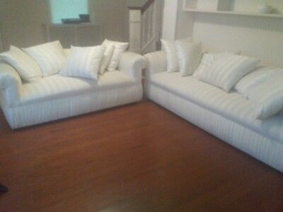 White Linen Upholstered Sofa and Love Seat Couch set living room furniture
