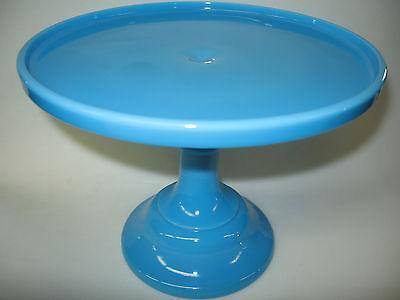 Blue milk Glass cake serving stand plate platter pedestal tray Bonnie wedding NR