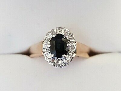 Stunning Sapphire and Diamond Cluster in 9ct Gold. Ring size L 1/2.