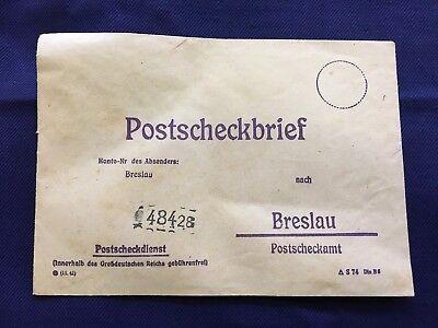 antiker Postscheckbrief Absender Breslau nach Breslau 48428 o. Marke/Stempel (1)