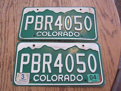 Colorado License Plates, PBR4050 with 2004 tag