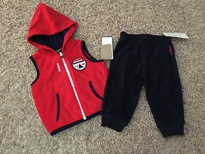 NWT Reebok Vest and Pant Suit for Boys size 12M - Fleece - red (2185)
