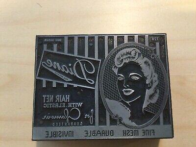 Letterpress Printing Print Block Vintage Hair Net Advertisement Womans Portrait