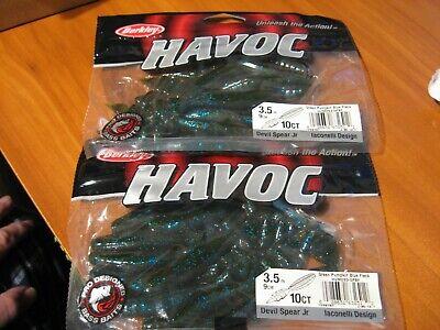 "Green Pumpkin 2 Packs Berkley Havoc 10/"" Federale Soft Plastic Fishing Baits"