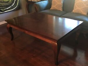 Large wood coffee table and matching end table