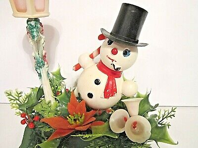 Vintage Christmas SNOWMAN & LAMP POST Plastic Poinsettia Blow Mold Table Setting