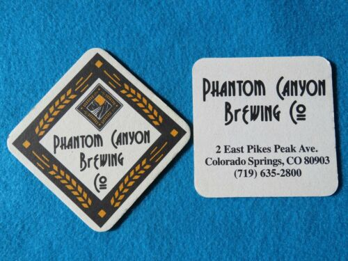 Beer Brewery Pub Coaster ~ PHANTOM CANYON Brewing ~ COLORADO SPRINGS Breweriana