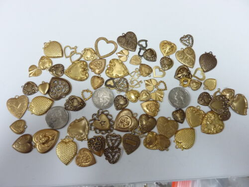 brass stampings findings HEART ASSORTMENT OVER 1/4  POUND             table
