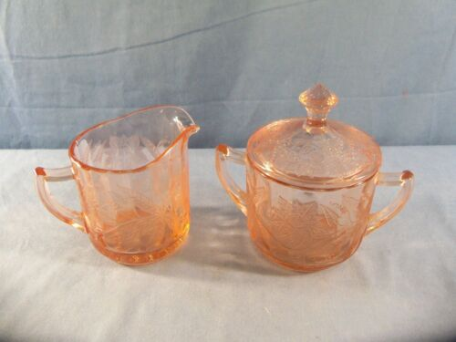 Jeannette FLORAL POINSETTIA Pink Depression Glass Creamer & Covered Sugar Bowl