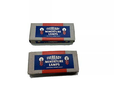 2 NOS Eveready Miniature lamps vtg bulbs gas station advertising flashlight