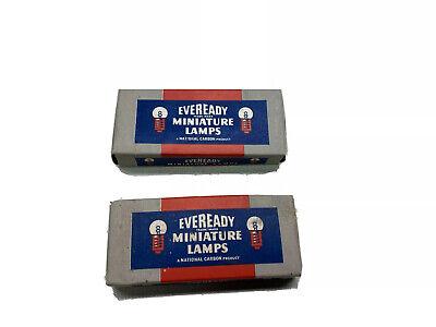 2 NOS Eveready Miniature lamps vtg bulbs gas station advertising flashlight