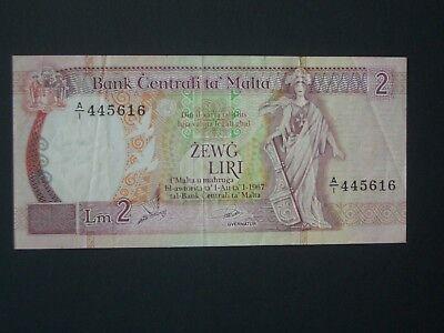 **Look** 'A1 '** Malta 2 Lire  'GVF' 1967 Banknote