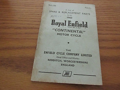 ROYAL ENFIELD CONTINENTAL 1963 SPAIRE & REPLACEMENT PARTS BOOKLET