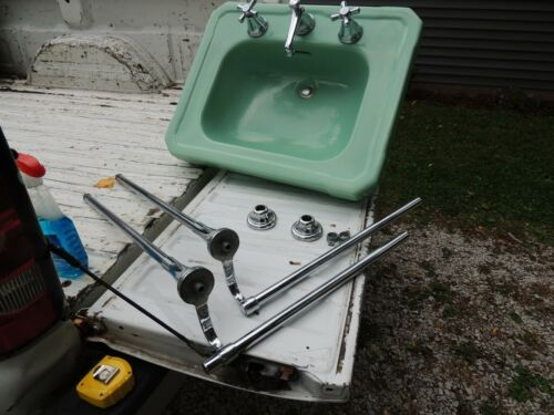 Vintage Porcelain Green Wall Mount Bath Sink plumbing, chrome legs & towelbar