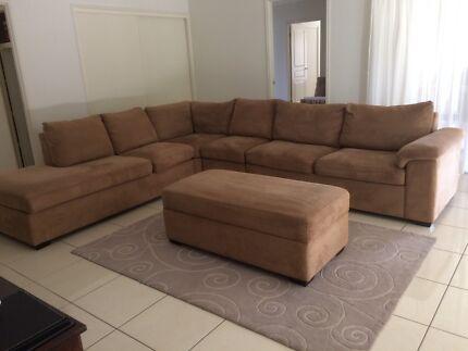 Large suede  modular lounge