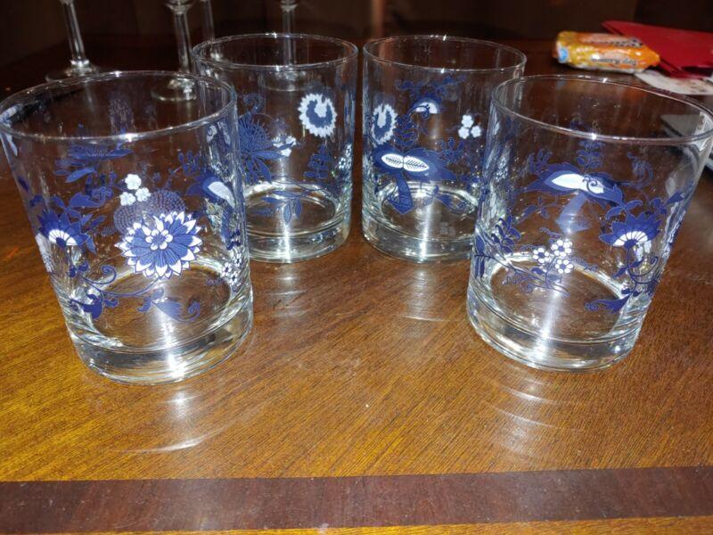 4 Blue Danube Drinking Glasses