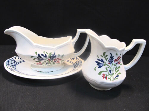 "JOHNSON BROTHERS ""PROVINCIAL"" ENGLISH IRONSTONE  GRAVY BOAT & CREAM PITCHER"