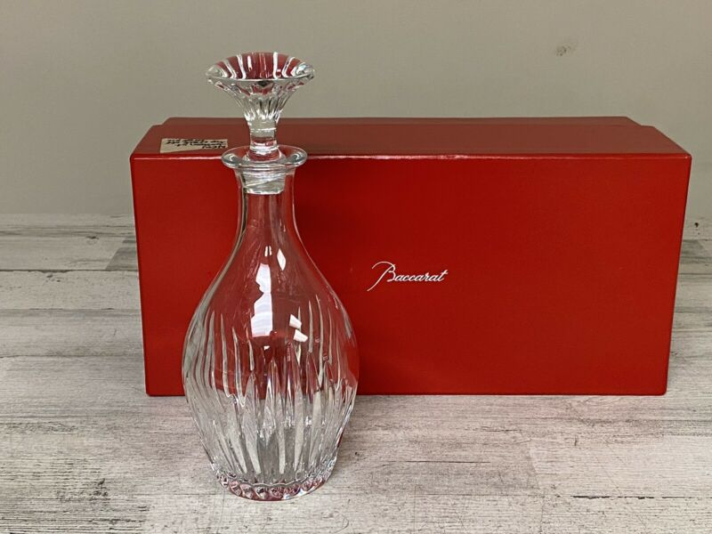 "Baccarat 1703346 Crystal Massena Decanter 11 1/4"" H Clear Cut Glass Defects"