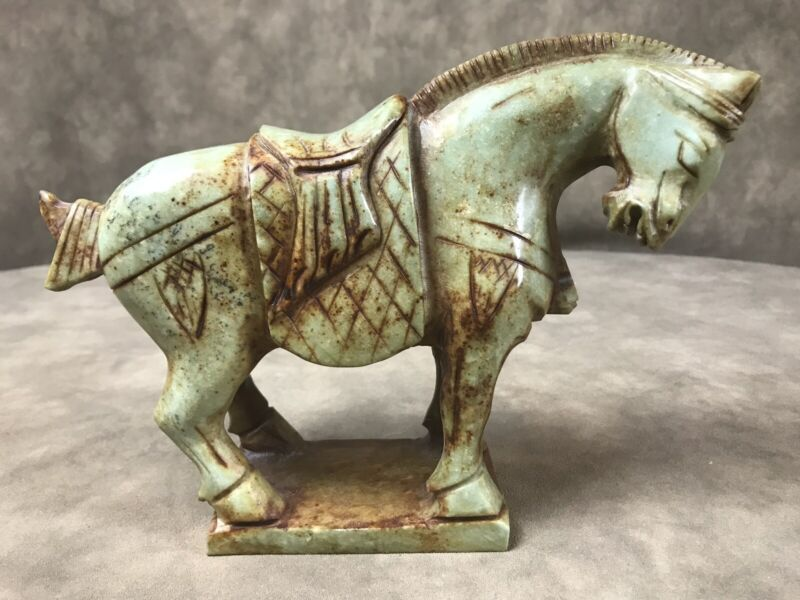 """HEAVY HORSE FIGURINE ABOUT 7"""" X 9"""" Possibly Jade ** See Description***"""