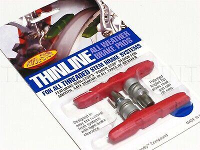NEW Kool-Stop Thinline Mt Bike/MTB V Brake Pads - Threaded All-Weather Red Kool Stop Mtb Brake Pads