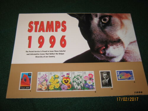 """USPS 1996 Stamp POSTER (21 Issues) MINT CONDITION 12"""" x 34""""s"""