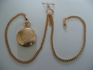 double albert rose gold plated colour pocket watch chain fob t bar and  watch