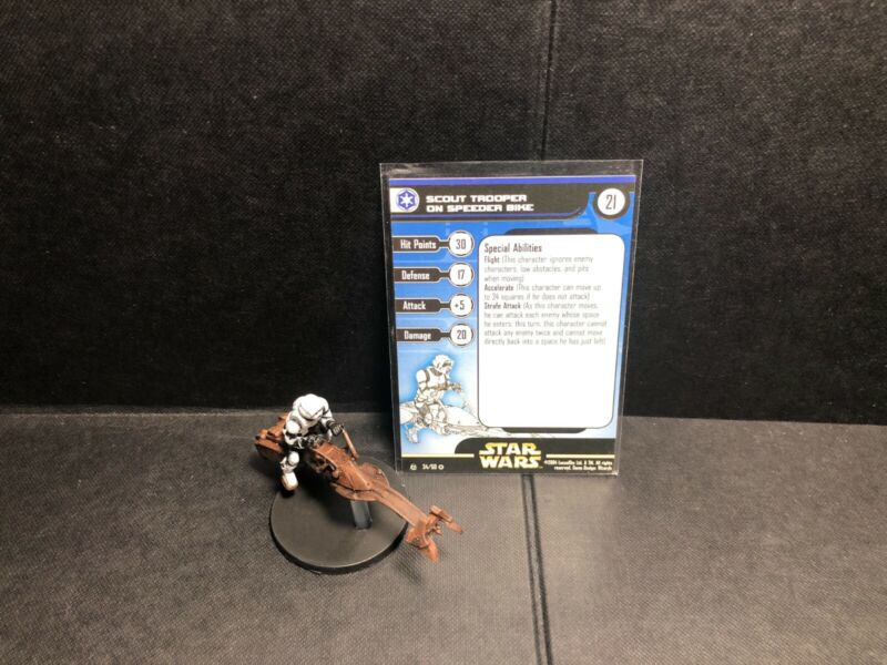 Star Wars Miniatures Scout Trooper on Speeder Bike RS w/ Card mini RPG Legion