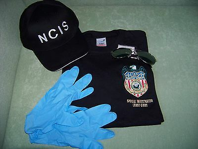 Navy CIS Cap + Gibbs Logo T-Shirt XXL + Brille +  Handschuhe , NCIS Kostüm - Gibbs Ncis Kostüm