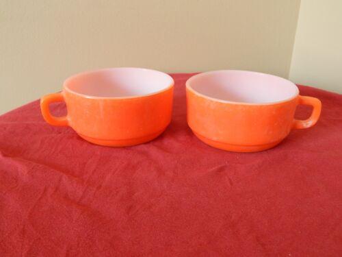 Set of 2 Anchor Hocking Ovenproof handled orange soup bowl #303