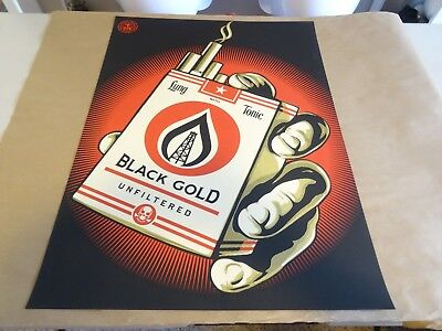 2015 Obey Giant Shepard Fairey Black Gold RARE ART PRINT STREET PASTER POSTER 1 Black Gold Art Print