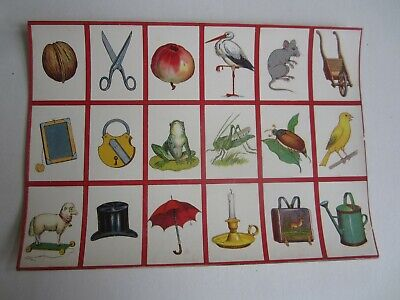Old c.1900 Antique - French Game PRINT - Household Objects/ Animals - GAME CARDS