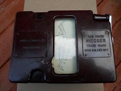 Working Vintage James G. Biddle 500 Volt Megger Insulation Tester Made In Usa