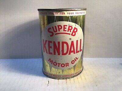 Vintage Kendall Oil Can Quart Metal Gas Rare Handy Sign Tin Texaco Sinclair Whiz