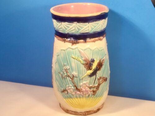 Rare Antique English Majolica Vase, Bird, Flowers on Fan  c1871