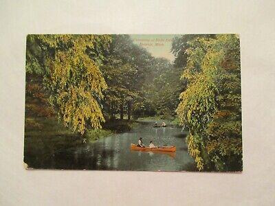 1912 Canoeing at Belle Island Detroit Michigan MI Postcard