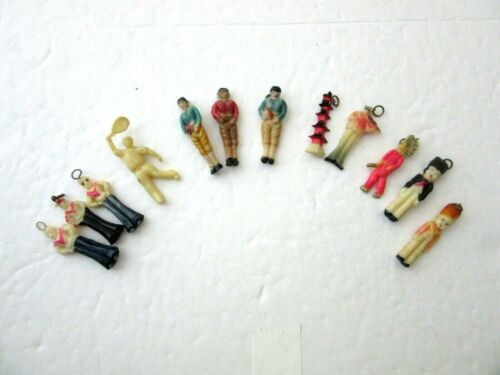Antique Lot of 12 Celluloid Figural Charms