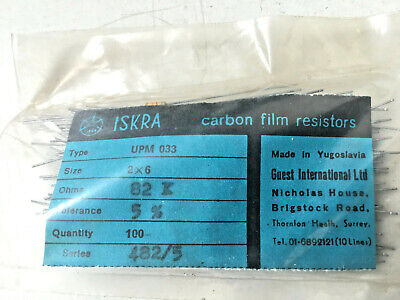 100x Iskra Upm 033 82k Ohm Vintage Carbon Film Resistors- 5- 82000 - 2x6 Mm