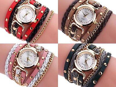 Multi Chain Wrap Watch - Ladies Women Fashion Chain Stud Statement Wrap Multi Layered PU Leather Watch UK