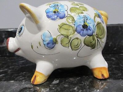 Large Floral Painted Ceramic Pig Money Box 1970 Vintage/Retro Plastic Stopper