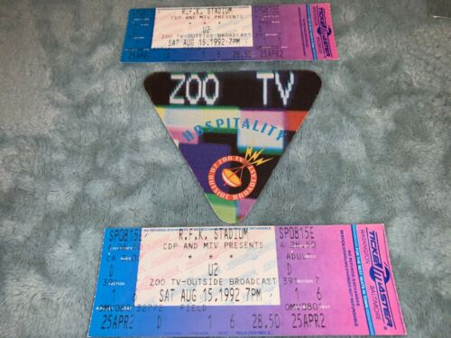 U2 UNUSED 1992 TICKETS CONCERT PASS ZOO TV Bono, The Edge R.F.K.STADIUM U 2