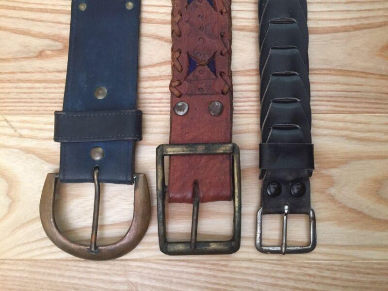 Lot Of 3 1960s 70s Vintage Leather Belts Mod Groovy Hippie