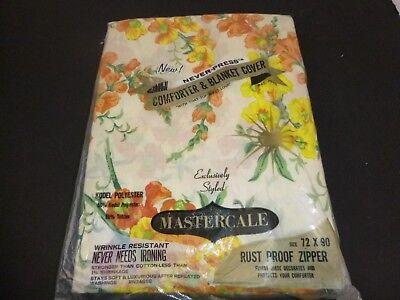 NOS Vtg Mastercale Comforter Blanket Cover W/ Zipper Orange Yellow Floral 72x90