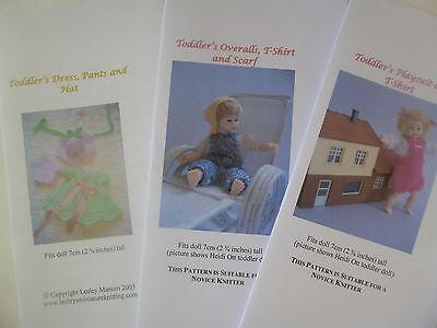 Knitting Patterns for 1:12 scale 2.75 inch dollhouse toddler doll - SET 2 for sale  Shipping to United States