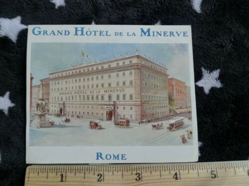 Grand Hotel De La Minerve, Rome, Italy, Vintage Luggage Label