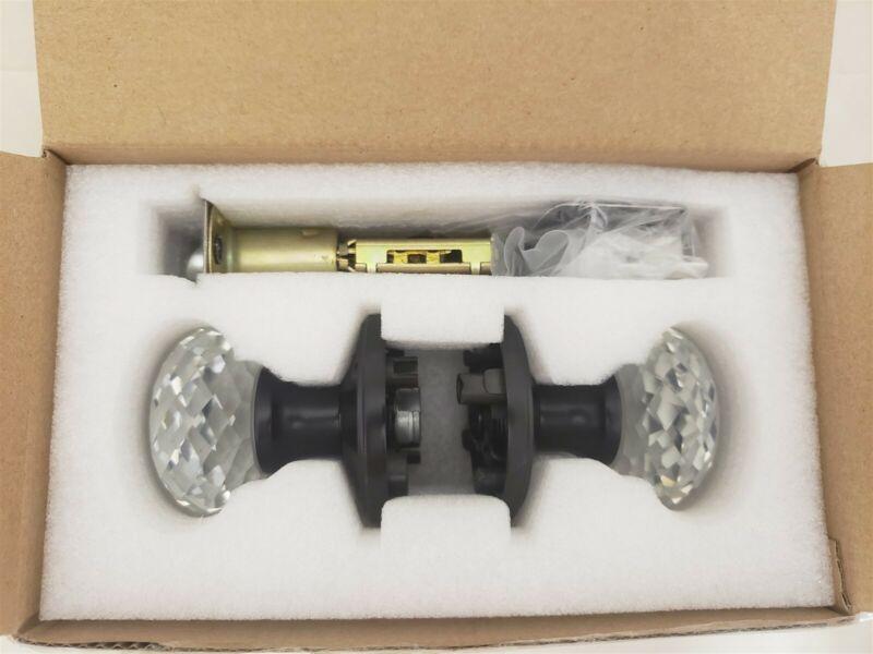 2 Pack-Probrico Clear Crystal Passage Door Knobs Black, Unlocking Passage Door..