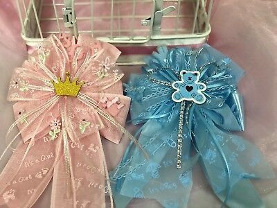 Boy Girl Shower (Mommy-to-Be Bow Corsage Baby Shower Decoration Gift Boy/Girl Handmade Pin)
