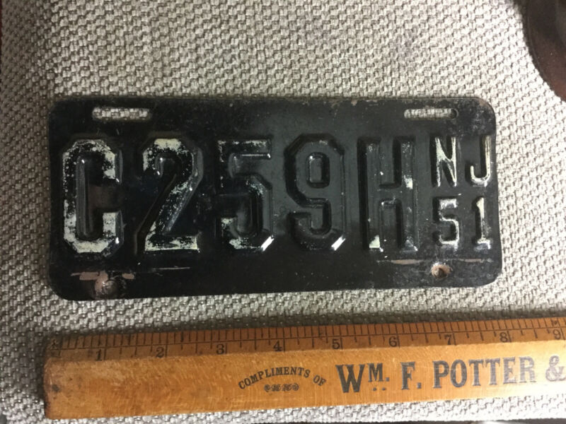 1951 New Jersey MOTORCYCLE License Plate