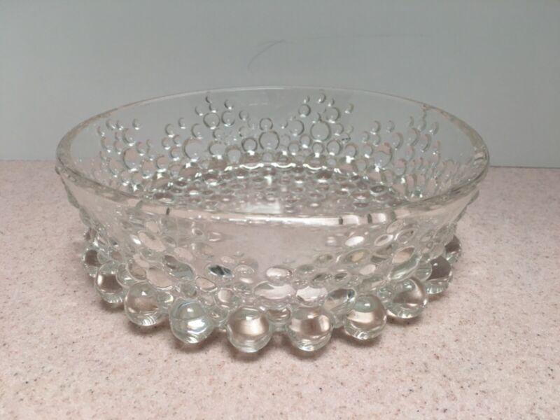 Vintage Unique Clear Bubble Glass Serving Bowl ? Anchor Hocking